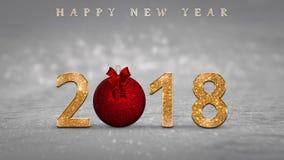2018新年` s前夕卡片,与金黄,闪烁数字、红色圣诞节球和新年快乐的例证发短信 库存照片