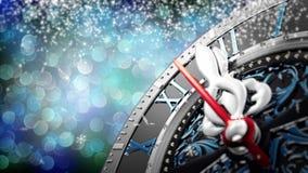 新年` s在午夜-有星雪花和假日光的老时钟 股票视频