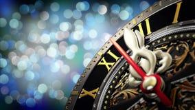 新年` s在午夜-有星雪花和假日光的老时钟 4K 股票视频