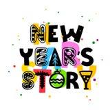 新年` s故事 字法 圣诞节字体 节假日概念 库存例证