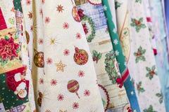 新年` s纺织品,与圣诞节印刷品样式的织品 免版税库存图片