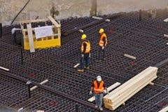 ?? 2019?3?21? 新建工程的工地工作在商业区地区 免版税库存图片