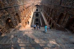 新德里,印度-大约2017年11月:Ugrasen ki Baoli台阶  免版税图库摄影