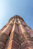 新德里Minar Qutub -联合国科教文组织世界遗产 库存图片