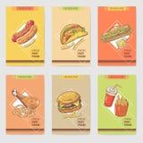 新快餐手拉的卡片小册子菜单用汉堡、三明治和热狗 食物和饮料 库存图片