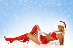 新性感的女性圣诞老人 免版税库存图片