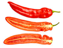 新成熟开胃甜红色被解剖的胡椒 免版税库存照片