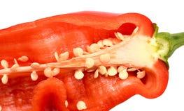 新成熟开胃甜红色被解剖的胡椒 免版税库存图片