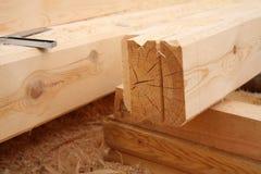 新房的预先形成由木头制成 库存照片