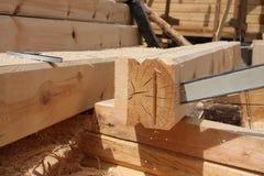 新房的预先形成由木头制成 免版税库存图片
