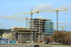 新房的建筑在立陶宛维尔纽斯市中心 图库摄影