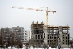 新房的建筑在立陶宛维尔纽斯市Fabijoniskes区 免版税库存图片