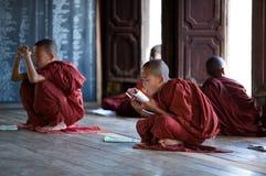 新手修士在Shwe严Pyay修道院,缅甸里 免版税图库摄影