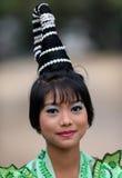 新手仪式的美丽的妇女,缅甸 库存图片