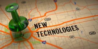 新技术-在地图背景的绿色图钉。 免版税库存图片
