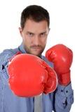 新拳击生意人白种人的手套 免版税图库摄影