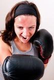 新拳击的妇女 库存照片