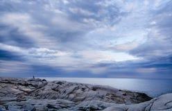 新斯科舍父亲和儿子俯视海洋的岩石峭壁的 免版税库存图片