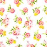 新春天玫瑰、毛茛属、兰花和草本无缝的传染媒介 库存例证