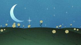 新月形月亮星和花在Papercut样式 向量例证