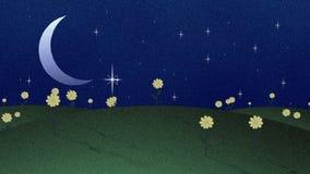 新月形月亮星和花Papercut样式 皇族释放例证
