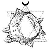 新月形月亮,玫瑰色花,神圣的几何 Blackwork纹身花刺fl 免版税库存图片