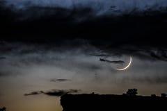 年轻新月形月亮 库存图片