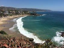 新月形海湾,拉古纳海滩加利福尼亚 库存照片