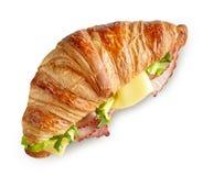 新月形面包三明治用火腿和乳酪 免版税库存照片