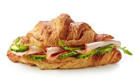 新月形面包三明治用火腿和黄瓜 库存图片