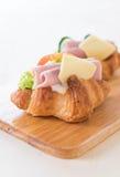 新月形面包三明治火腿乳酪 库存照片