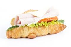 新月形面包三明治用火腿乳酪 库存图片