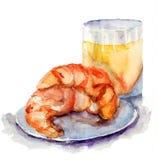 新月形面包和杯果汁 免版税库存图片