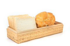 新月形面包和面包 免版税图库摄影