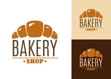 新月形面包面包店象征或商标 库存图片