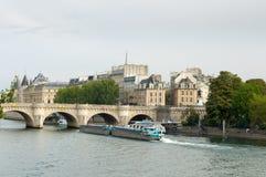 新桥是最旧的常设河上的桥塞纳河在巴黎,法国 免版税图库摄影