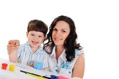 新母亲和儿子 免版税图库摄影