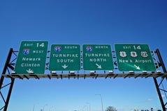 新泽西收费公路标志 库存照片