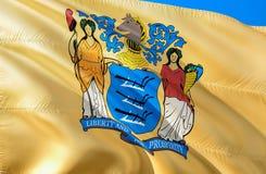 新泽西旗子 挥动美国州旗子设计的3D 新泽西州,3D的全国美国标志翻译 全国颜色和 库存例证