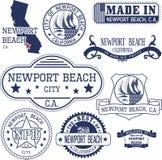 新港海滨市,加州 邮票和标志 库存照片