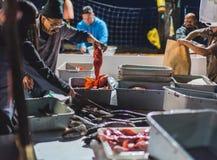 新港海滨海鲂舰队鱼市 免版税库存照片