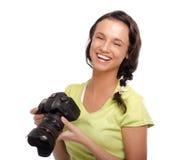 新照相机的妇女 查出在白色 免版税库存照片