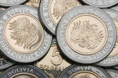 新玻利维亚的货币 库存图片