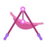 新生儿的婴孩摇椅被隔绝的白色背景的 也corel凹道例证向量 免版税库存照片