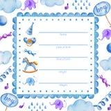 新生儿boy_Baby阵雨的海报模板 向量例证
