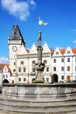 """新生城镇厅†""""有地下墓穴的Hussite博物馆, Zizka广场,塔博尔市,捷克共和国 库存图片"""