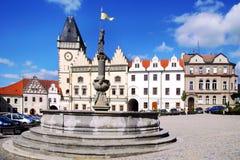 """新生城镇厅†""""有地下墓穴的Hussite博物馆, Zizka广场,塔博尔市,捷克共和国 免版税库存图片"""