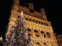 新生城镇厅大厦的圣诞树和门面在晚上 库存照片