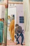 新生壁画在Brancacci教堂里在圣诞老人教会里  免版税库存照片