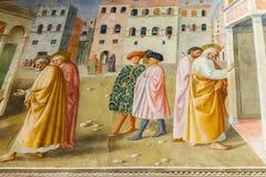 新生壁画在Brancacci教堂里在圣诞老人教会里  免版税库存图片